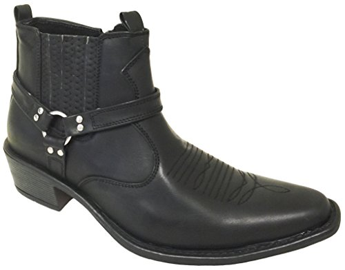 Men's Cowboy Ankle Boots western Leather Lining Gore Side Zipper Shoes (10.5 D(M) US, Black)