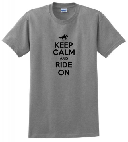 Keep Calm and Ride On T-Shirt Small Sport Grey