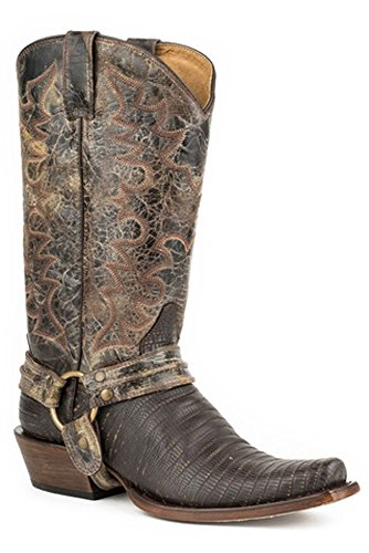 Roper Boots Mens Brown Leather Motorcycle Harness Faux Lizard Cowboy 11 EE