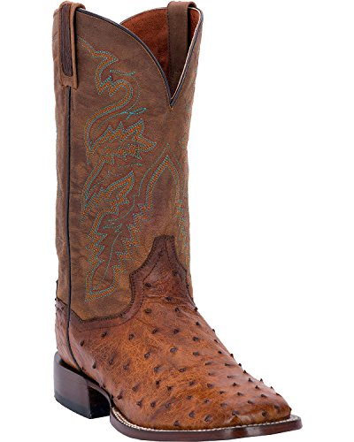 Dan Post Men's Chandler Full Quill Ostrich Cowboy Boot Square Toe Bay Apache US