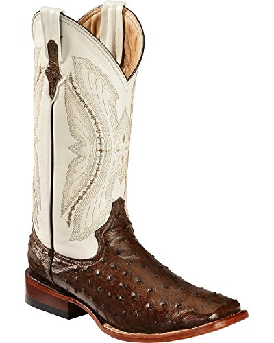 Ferrini Western Boots Mens FQ Ostrich 9.5 D Kango Brown Lime 10193-07