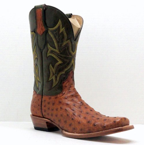 Stetson Cowboy Boots Mens Tan Full Quill Ostrich Square Toe[ 11.5,Extra Wide (EE+)]