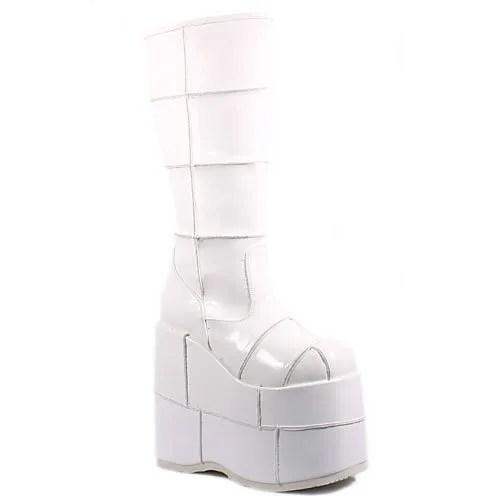 Pleaser Men's Stack-301 Platform Boot,White Patent,7 M US