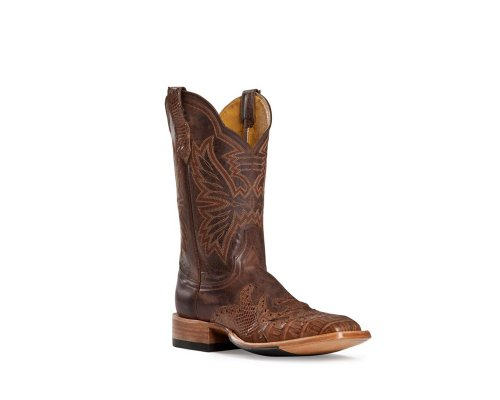 Cinch Men's Classic Caiman Wingtip Cowboy Boot Square Toe Chocolate US