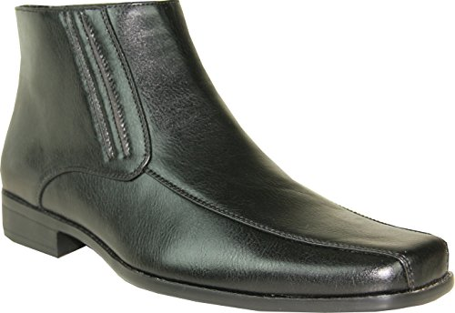 BRAVO Men Classic Dress Boot MONACO-5 with Square Bicycle Toe and Leather Lining Black 13M
