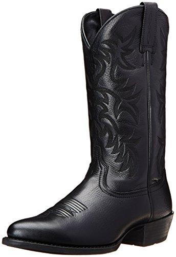 Ariat Men's Heritage Western R Toe Western Boot,  Black Deer Tan,  11 D US