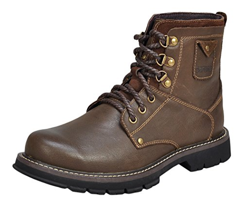 Serene Mens Fashion Leather Lace-up Waterprooft Steel-toe Work Boots (9.5 D(M)US, Brown)