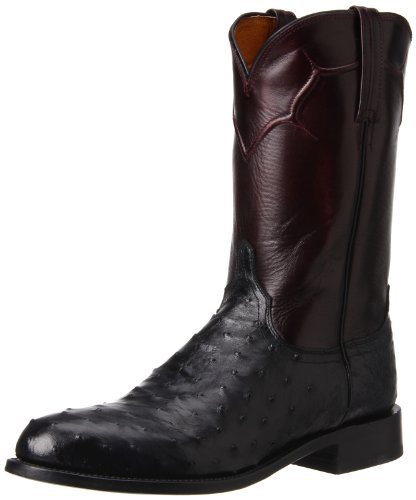 Lucchese Men's Handcrafted Full Quill Ostrich Napoli Roper Cowboy Boot Black US