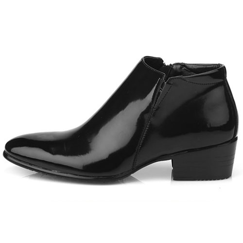 New Mens Dress Leather Shoes Formal Casual Black Ankle Boots Deluxe (9)