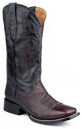 Roper Men's Smooth Quill Ostrich Cowboy Boot Square Toe Blk Cherry US