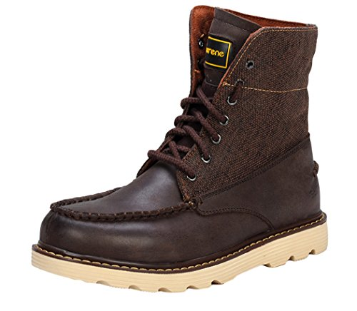 Serene Mens Suede Leather Fragments Combat Boot (7 D(M)US, Coffee)