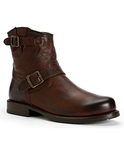 Frye Men's Wayde Engineer Inside Zipper Boot Round Toe Dark Brn US