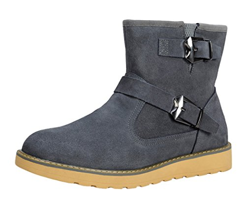 Serene Mens Fashion Fur Lining Buckle Suede Casual Short Boots(7 D(M)US, Grey)