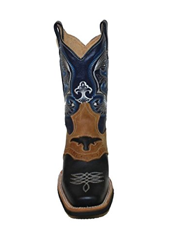 Dona Michi Western Men's Leather Cowboy Boots Animal Print Black/Honey_7
