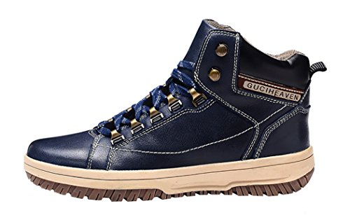 WUXING Men's Fashion Leather Breathable Rubber Outsole Martin Short Boots(9 D(M)US,dark blue)