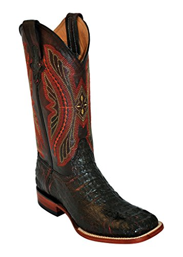 Ferrini Western Boots Mens Caiman Body Croc 8 D Black Cherry 10493-08