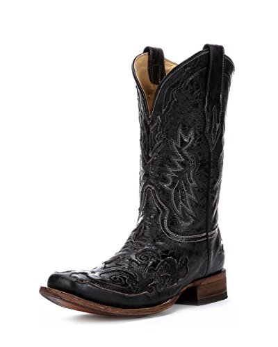 Corral Men's A2159 Snake Inlay Black Cowboy Boots 8 D