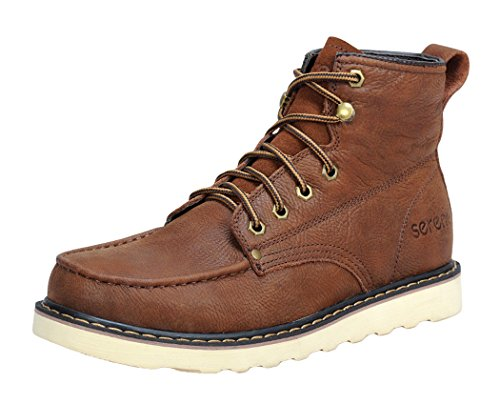 Serene Mens Comfortable Leather Lace-up Fashion Military Tactiacl Boots (10 D(M)US, RedBrown)