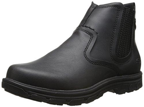 Skechers USA Men's Segment-Dorton Chukka Boot,Black Leather,12 M US