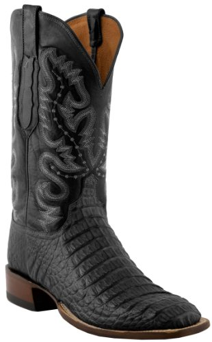 Lucchese C1065 Men's Black Waxy Horn Back Caiman/Black Jurassic Goat Boots 10.5D-W8