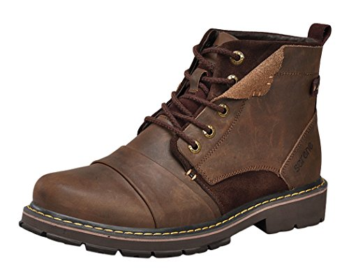 Serene Mens Leather New Style Unique Durable Work Construction Boot (10.5 D(M)US, Coffee)