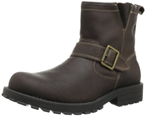 Skechers USA Men's Mid Top With Buckle Strap Pull-On Boot,Brown,9.5 M US