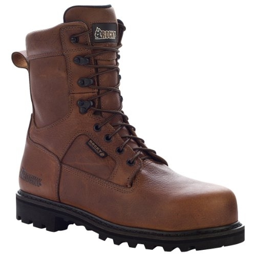 Rocky Men's Exertion 8″ Dark Brown Waterproof Steel Toe Leather Boots 9 M