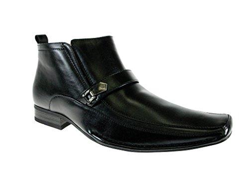 Delli Aldo Men's 606262 Ankle High Casual Dress Boots, Black, 10.5