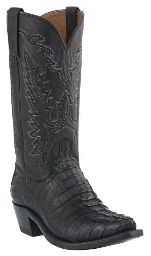 Lucchese Men's Handcrafted 1883 Hornback Caiman Tail Cowboy Boot Snip Toe Black US