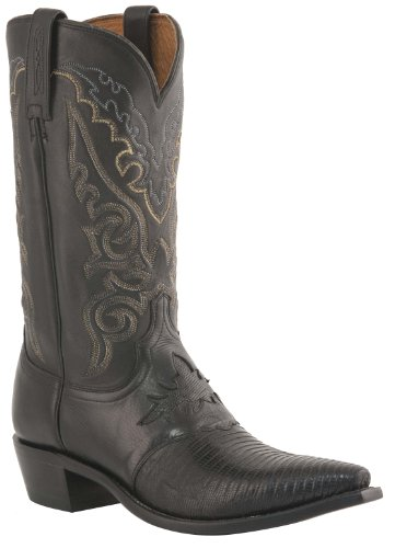 Lucchese Men's Handcrafted 1883 Lizard Inlay Saddle Vamp Cowboy Boot Medium Toe Black US