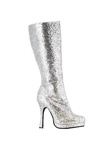 Knee High Silver Glitter Boots