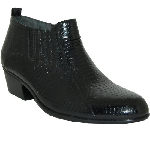 2 Inch Cuban Heel Leather Line Boot, Black, Size, 10