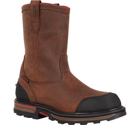 Rocky Men's Elements Dirt Waterproof Wellington Work Boot Safety Toe Brown US