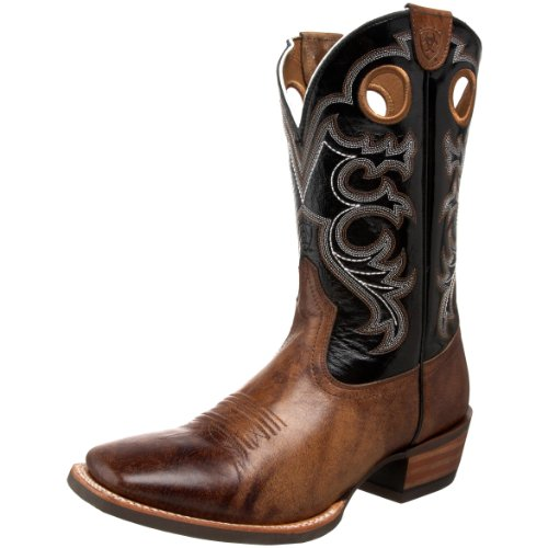 Ariat Men's Crossfire Western Boot, Wheathered Buckskin/Shadow Black, 12 M US