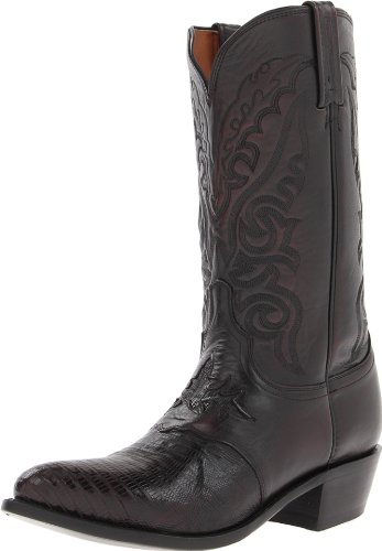 Lucchese Men's Handcrafted 1883 Lizard Inlay Saddle Vamp Cowboy Boot Medium Toe Blk Cherry US