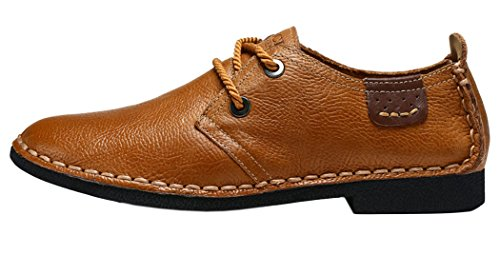 Guciheaven Mens 2015 New Summer British Style Low Top Lace-Up First Of Leather Causal Shoes(9.5 D(M)US, Tan)