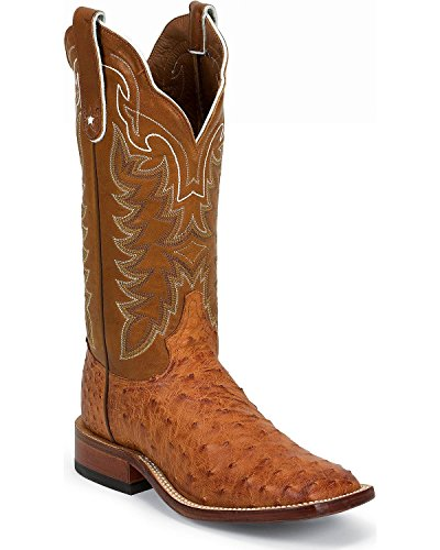 Tony Lama Men's Vintage Full Quill Ostrich Cowboy Boot Wide Square Toe Cognac US