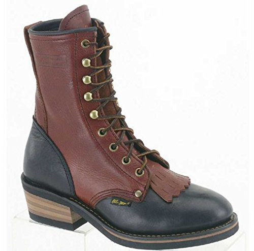 "AdTec Women's 8"" Tumble Full-Grain Leather Work Boot Black/Dark Red 2179 10 D"