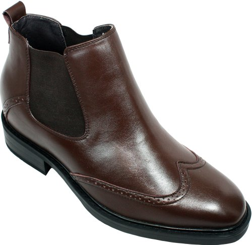 CALDEN – K288021 – 3 Inches Taller – Size 9 D US – Height Increasing Elevator Shoes (Brown Slip On Wing-tip Formal Dress Ankle Boots with Elastics)