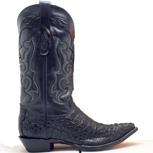 Corral Cowboy Boots Mens Black Caiman Gator Back Cut Snip Toe