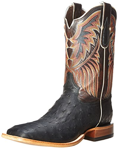 Tony Lama Men's 6080-FQ Ostrich Western Boot,Black,9.5 D US