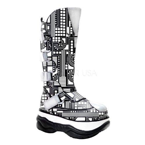 Demonia Black PU UV White Mens 3″ Reactive Ciruit knee Boot NEPTUNE-309UV/B/PU