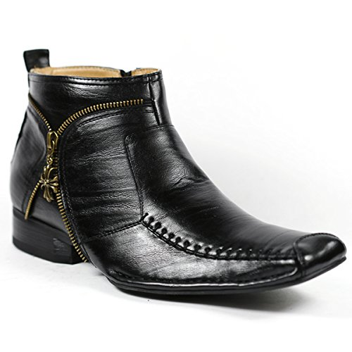 Ferro Aldo MFA-606318 Black Mens Dress Ankle Boots Shoes w/ Leather Lining and Full Side Zipper (8)
