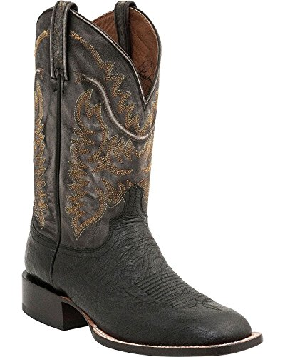 Lucchese Men's Handcrafted 1883 Burt Smooth Ostrich Cowboy Boot Square Toe Black US