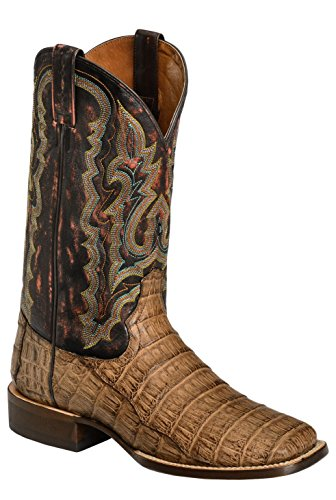 Red Ranch Men's Caiman Belly Cowboy Boot Square Toe Bay Apache 10 EE US