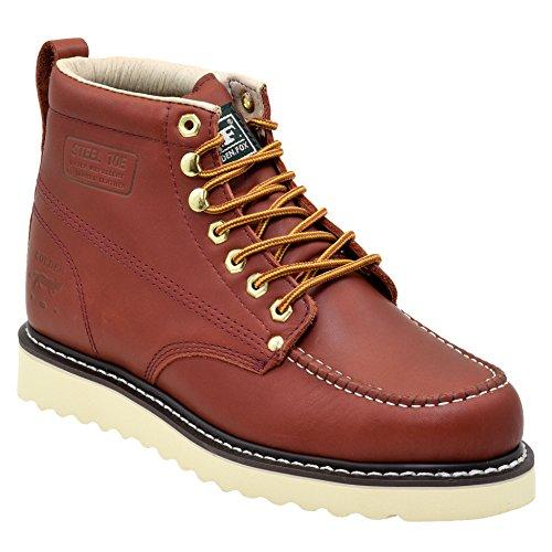 Golden Fox Moc Steel Toe Lightweight Outsole Work Boot (9 D(M) US, Redwood)