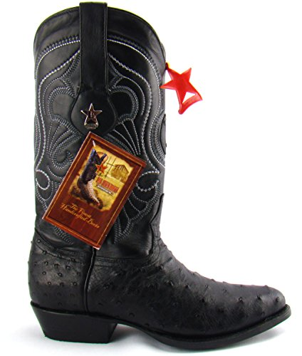 Los Altos Black Genuine Ostrich R-Toe Mens Western Cowboy Boots 12 D