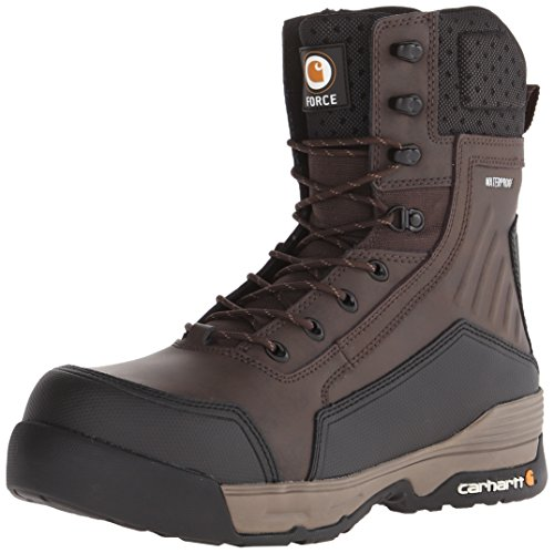 Carhartt Men's 8 Inch Force BN CMP Toe Work Boot, Brown Coated Leather, 11 M US