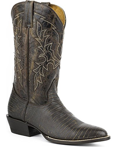 Roper Men's Lizard Print Tall Cowboy Boot Round Toe Brown US