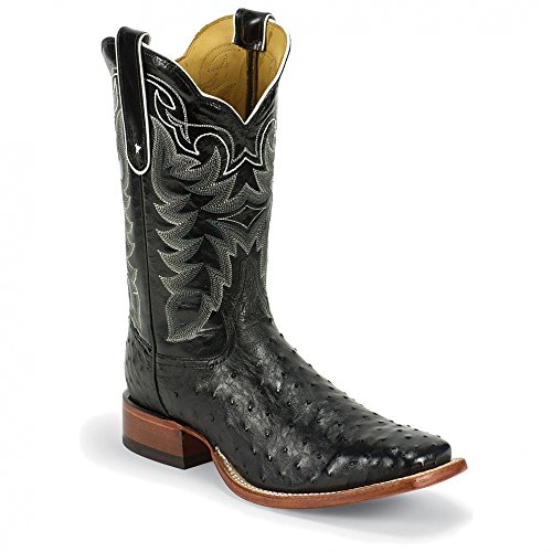 Tony Lama 9091 Men's 11-in Full Quill Ostrich Boot Black 10 D US